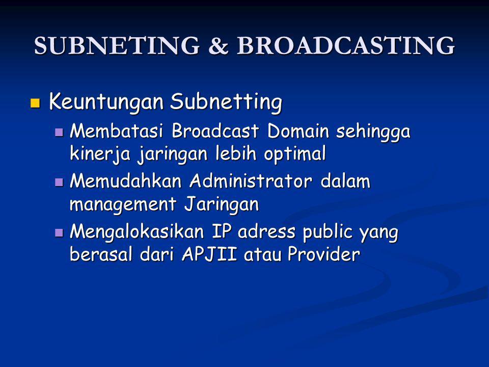 SUBNETING & BROADCASTING Keuntungan Subnetting Keuntungan Subnetting Membatasi Broadcast Domain sehingga kinerja jaringan lebih optimal Membatasi Broadcast Domain sehingga kinerja jaringan lebih optimal Memudahkan Administrator dalam management Jaringan Memudahkan Administrator dalam management Jaringan Mengalokasikan IP adress public yang berasal dari APJII atau Provider Mengalokasikan IP adress public yang berasal dari APJII atau Provider