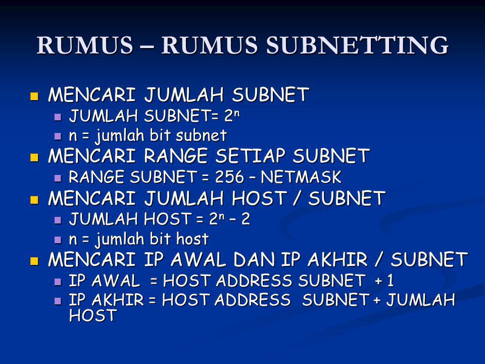 RUMUS – RUMUS SUBNETTING MENCARI JUMLAH SUBNET MENCARI JUMLAH SUBNET JUMLAH SUBNET= 2 n JUMLAH SUBNET= 2 n n = jumlah bit subnet n = jumlah bit subnet MENCARI RANGE SETIAP SUBNET MENCARI RANGE SETIAP SUBNET RANGE SUBNET = 256 – NETMASK RANGE SUBNET = 256 – NETMASK MENCARI JUMLAH HOST / SUBNET MENCARI JUMLAH HOST / SUBNET JUMLAH HOST = 2 n – 2 JUMLAH HOST = 2 n – 2 n = jumlah bit host n = jumlah bit host MENCARI IP AWAL DAN IP AKHIR / SUBNET MENCARI IP AWAL DAN IP AKHIR / SUBNET IP AWAL = HOST ADDRESS SUBNET + 1 IP AWAL = HOST ADDRESS SUBNET + 1 IP AKHIR = HOST ADDRESS SUBNET + JUMLAH HOST IP AKHIR = HOST ADDRESS SUBNET + JUMLAH HOST