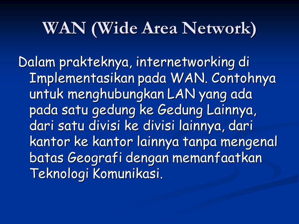 WAN (Wide Area Network) Dalam prakteknya, internetworking di Implementasikan pada WAN.