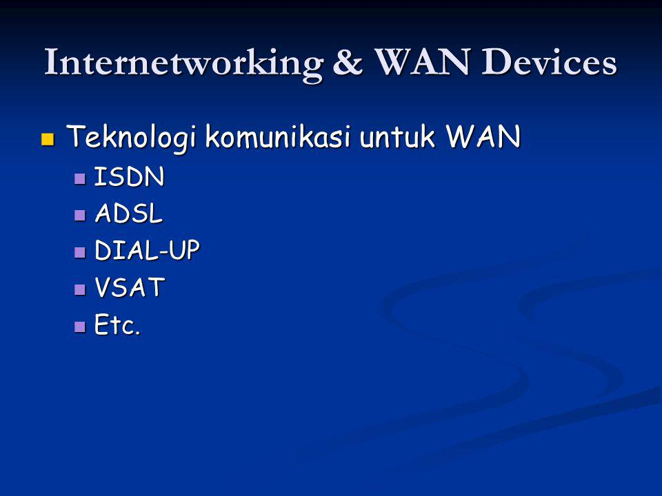 Internetworking & WAN Devices Teknologi komunikasi untuk WAN Teknologi komunikasi untuk WAN ISDN ISDN ADSL ADSL DIAL-UP DIAL-UP VSAT VSAT Etc.