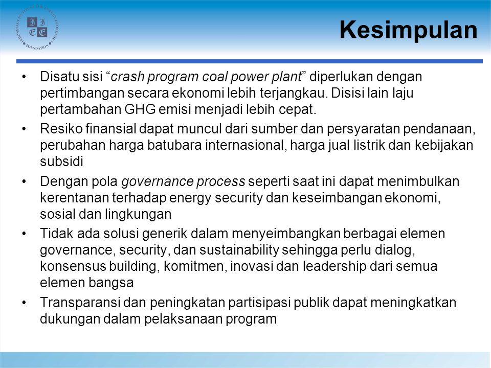 Kesimpulan Disatu sisi crash program coal power plant diperlukan dengan pertimbangan secara ekonomi lebih terjangkau.