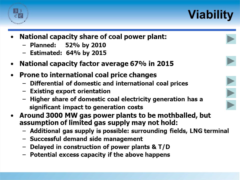 Viability National capacity share of coal power plant: –Planned: 52% by 2010 –Estimated: 64% by 2015 National capacity factor average 67% in 2015 Prone to international coal price changes –Differential of domestic and international coal prices –Existing export orientation –Higher share of domestic coal electricity generation has a significant impact to generation costs Around 3000 MW gas power plants to be mothballed, but assumption of limited gas supply may not hold: –Additional gas supply is possible: surrounding fields, LNG terminal –Successful demand side management –Delayed in construction of power plants & T/D –Potential excess capacity if the above happens