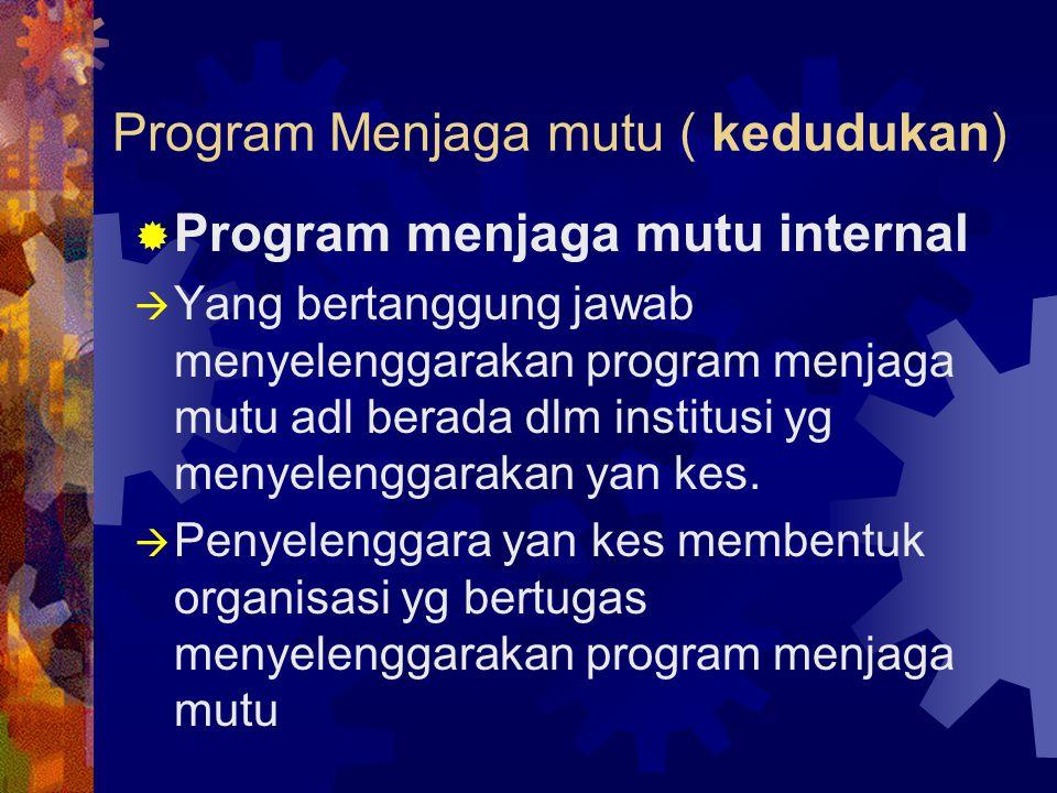Program Menjaga mutu ( kedudukan)  Program menjaga mutu internal  Yang bertanggung jawab menyelenggarakan program menjaga mutu adl berada dlm instit