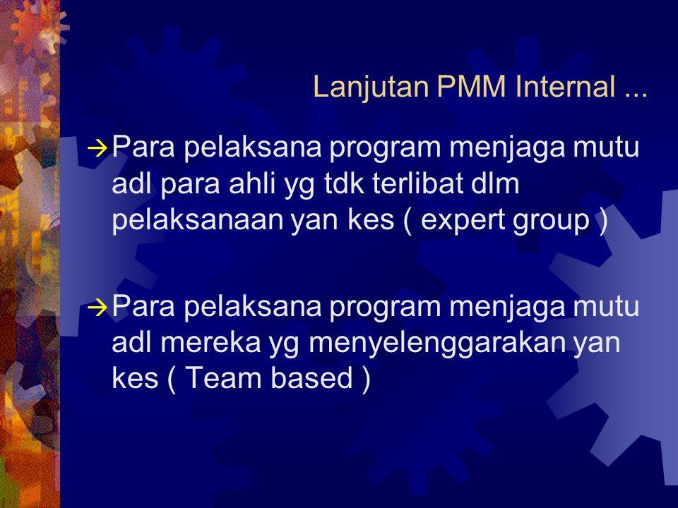 Lanjutan PMM Internal...  Para pelaksana program menjaga mutu adl para ahli yg tdk terlibat dlm pelaksanaan yan kes ( expert group )  Para pelaksana