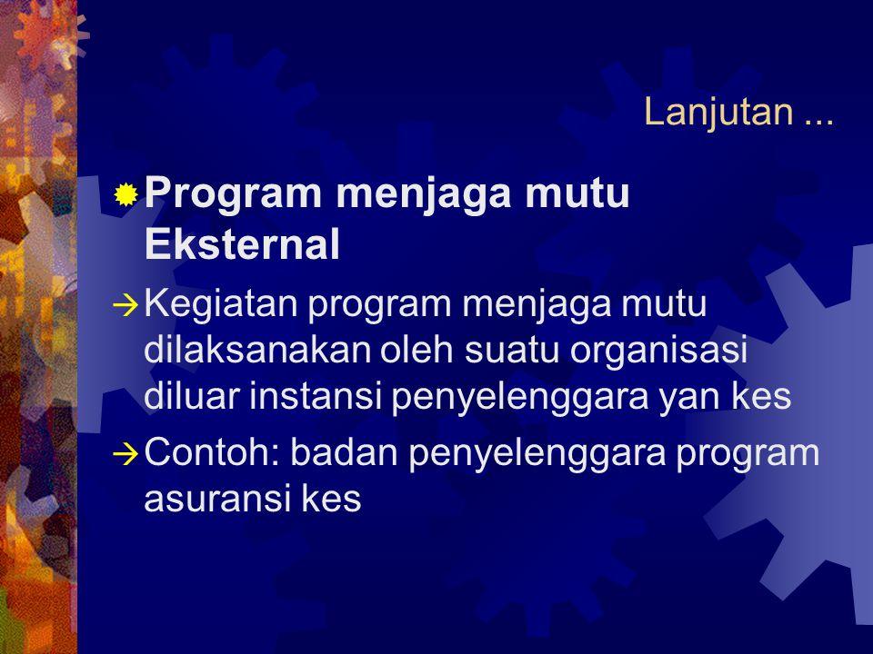 Lanjutan...  Program menjaga mutu Eksternal  Kegiatan program menjaga mutu dilaksanakan oleh suatu organisasi diluar instansi penyelenggara yan kes