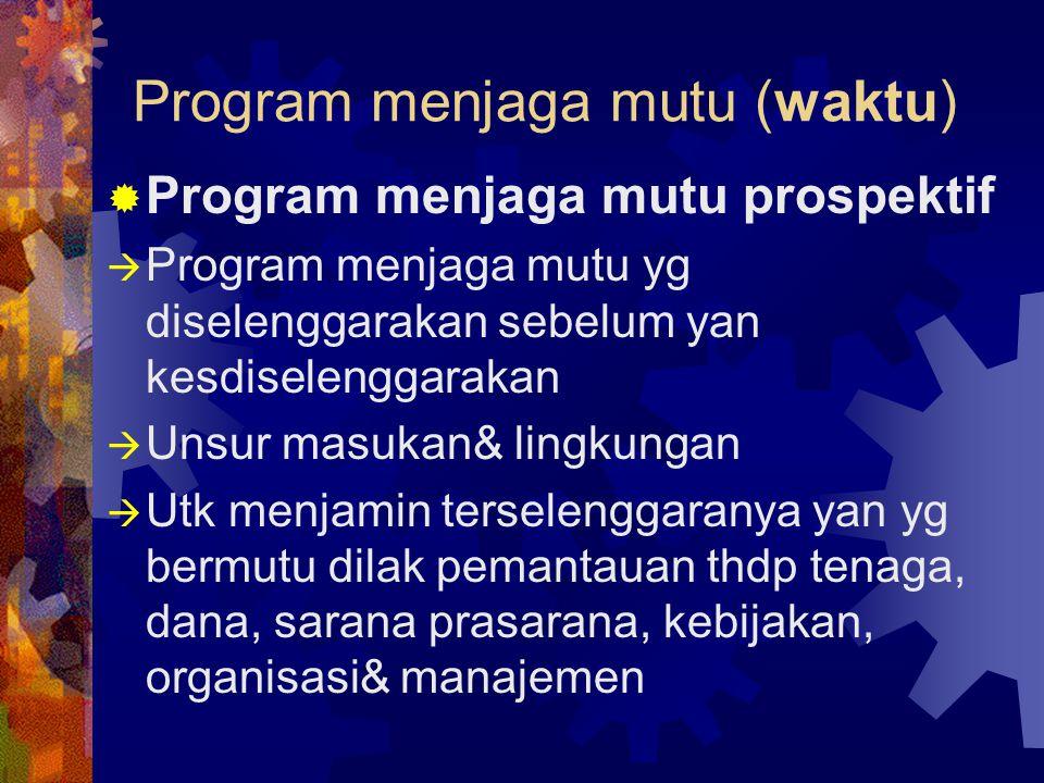 Program menjaga mutu (waktu)  Program menjaga mutu prospektif  Program menjaga mutu yg diselenggarakan sebelum yan kesdiselenggarakan  Unsur masuka