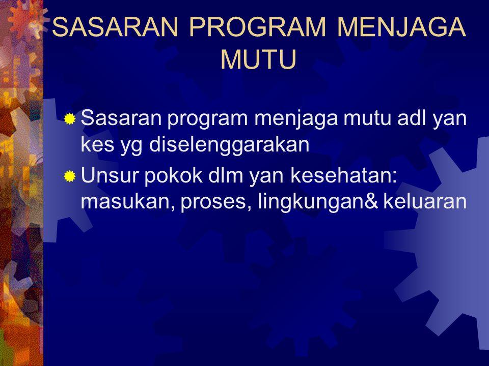 SASARAN PROGRAM MENJAGA MUTU  Sasaran program menjaga mutu adl yan kes yg diselenggarakan  Unsur pokok dlm yan kesehatan: masukan, proses, lingkunga