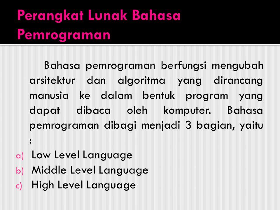 Bahasa pemrograman berfungsi mengubah arsitektur dan algoritma yang dirancang manusia ke dalam bentuk program yang dapat dibaca oleh komputer. Bahasa