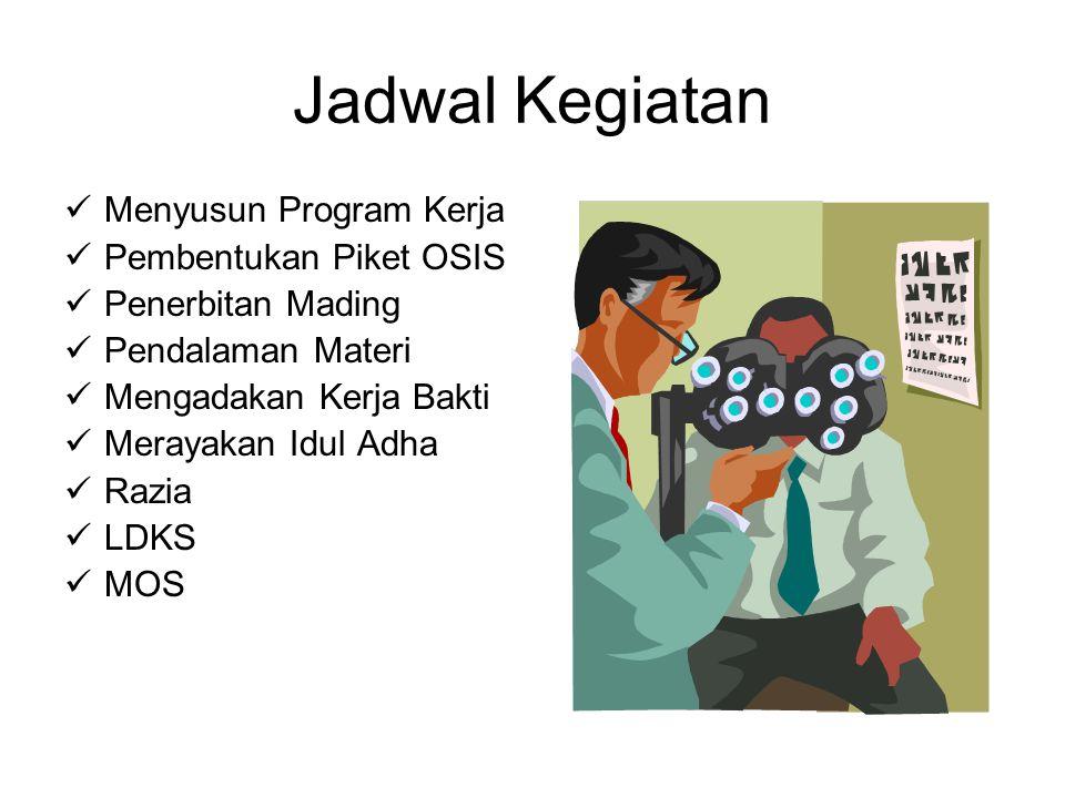 Jadwal Kegiatan Menyusun Program Kerja Pembentukan Piket OSIS Penerbitan Mading Pendalaman Materi Mengadakan Kerja Bakti Merayakan Idul Adha Razia LDKS MOS