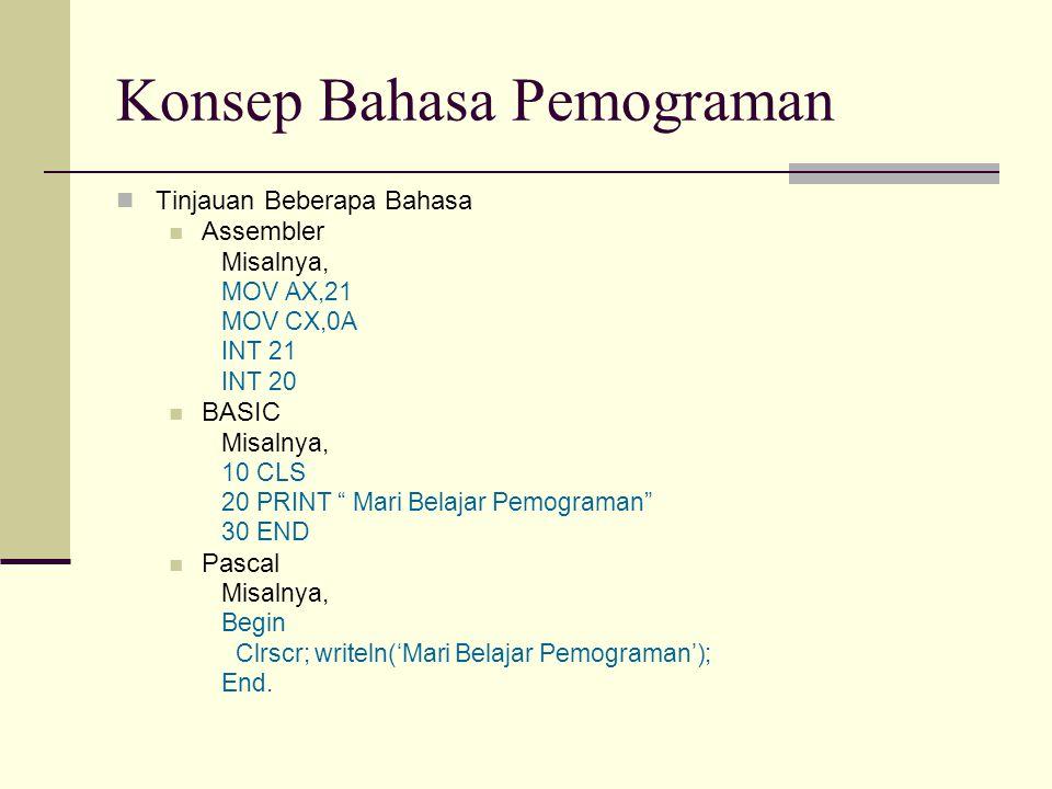 "Konsep Bahasa Pemograman Tinjauan Beberapa Bahasa Assembler Misalnya, MOV AX,21 MOV CX,0A INT 21 INT 20 BASIC Misalnya, 10 CLS 20 PRINT "" Mari Belajar"