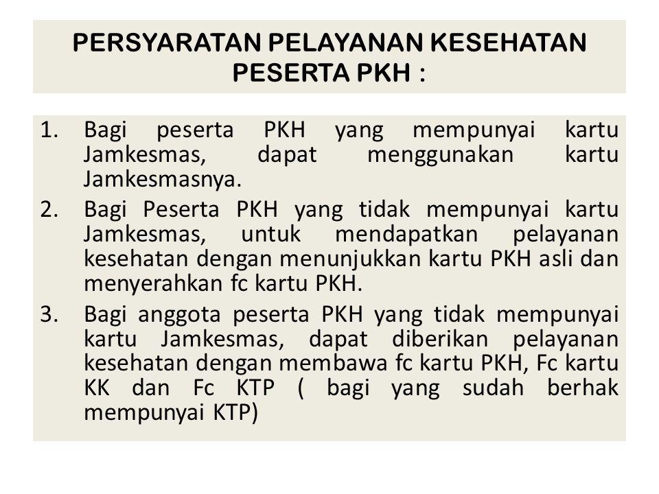 PERSYARATAN PELAYANAN KESEHATAN PESERTA PKH : 1.Bagi peserta PKH yang mempunyai kartu Jamkesmas, dapat menggunakan kartu Jamkesmasnya. 2.Bagi Peserta
