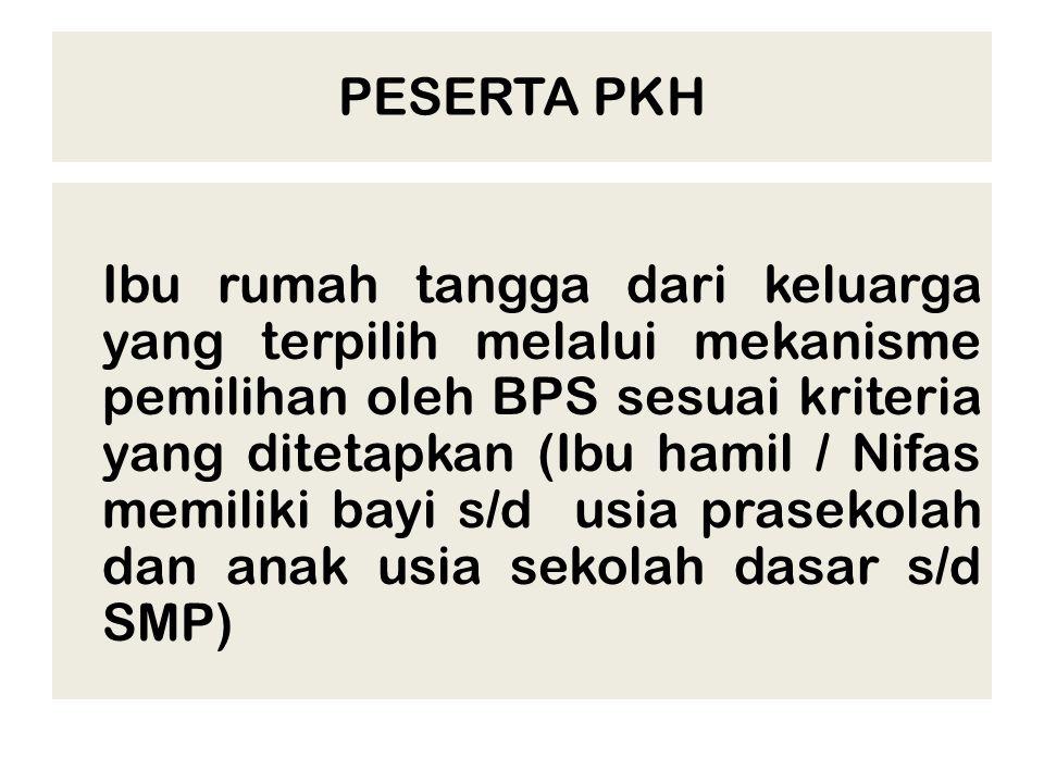 PESERTA PKH Ibu rumah tangga dari keluarga yang terpilih melalui mekanisme pemilihan oleh BPS sesuai kriteria yang ditetapkan (Ibu hamil / Nifas memil