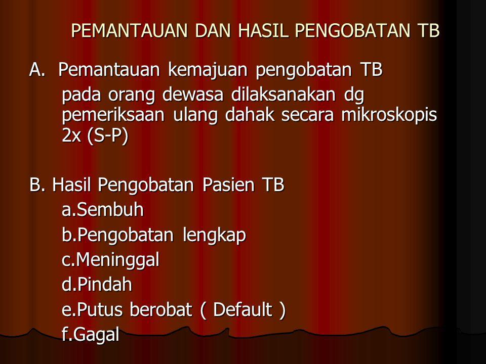PEMANTAUAN DAN HASIL PENGOBATAN TB A. Pemantauan kemajuan pengobatan TB pada orang dewasa dilaksanakan dg pemeriksaan ulang dahak secara mikroskopis 2