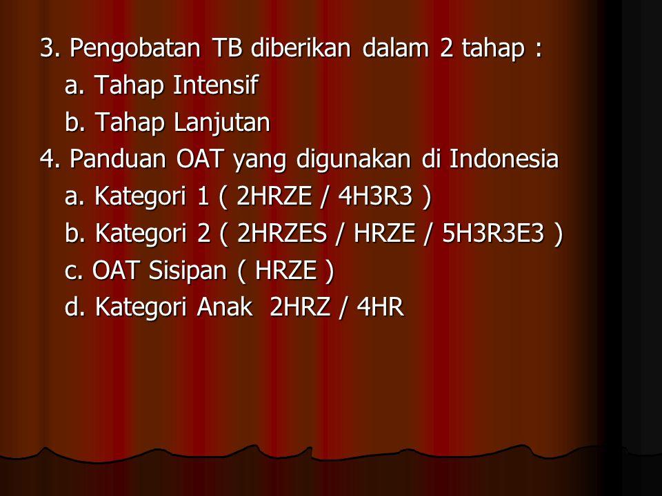 3. Pengobatan TB diberikan dalam 2 tahap : a. Tahap Intensif b. Tahap Lanjutan 4. Panduan OAT yang digunakan di Indonesia a. Kategori 1 ( 2HRZE / 4H3R