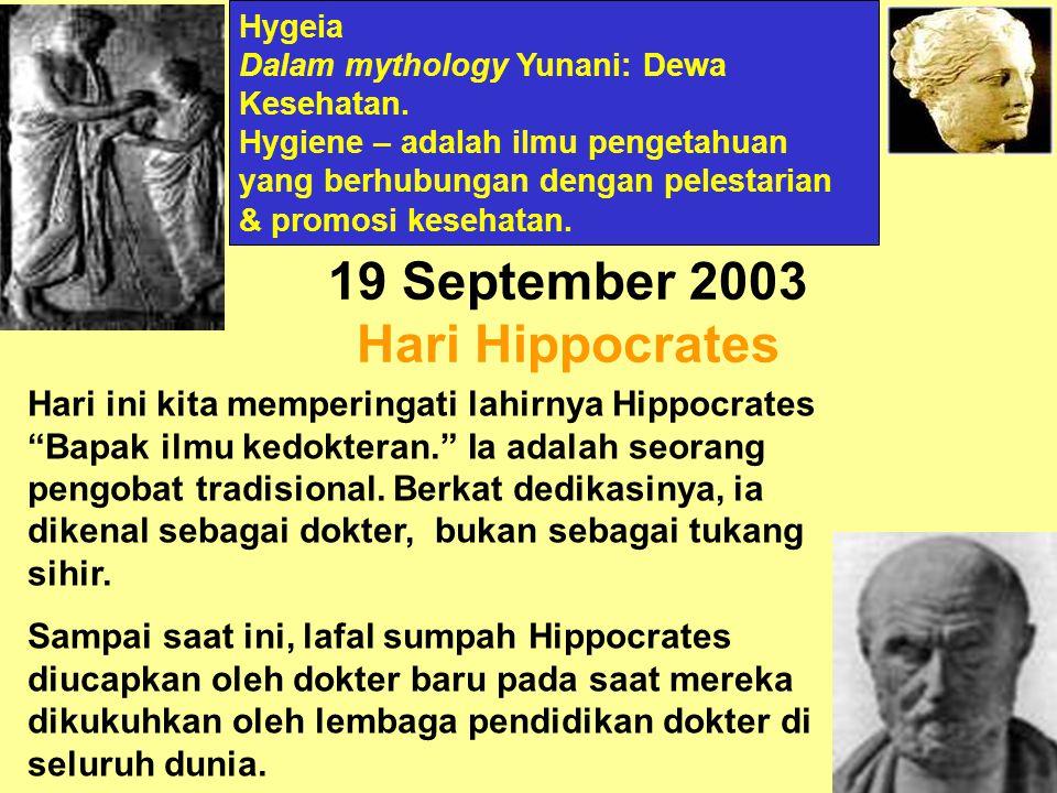 19 September 2003 Hari Hippocrates Hari ini kita memperingati lahirnya Hippocrates Bapak ilmu kedokteran. Ia adalah seorang pengobat tradisional.