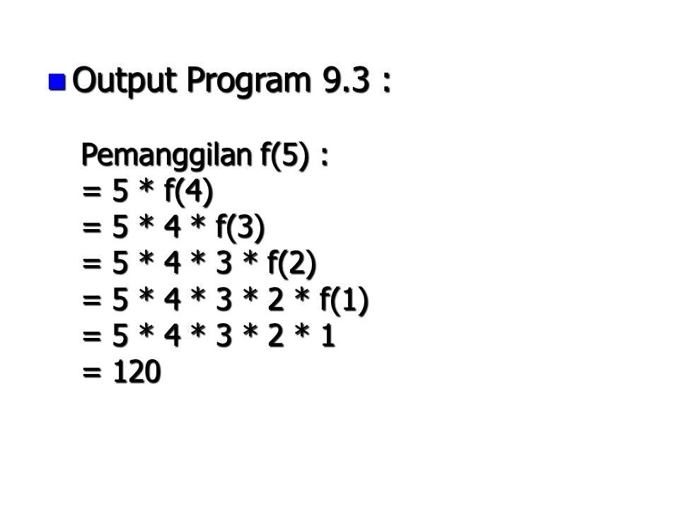 Output Program 9.3 : Output Program 9.3 : Pemanggilan f(5) : = 5 * f(4) = 5 * 4 * f(3) = 5 * 4 * 3 * f(2) = 5 * 4 * 3 * 2 * f(1) = 5 * 4 * 3 * 2 * 1 =