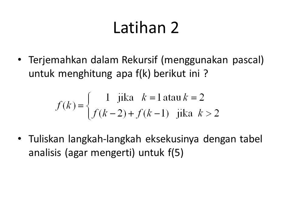 Latihan 2 Terjemahkan dalam Rekursif (menggunakan pascal) untuk menghitung apa f(k) berikut ini ? Tuliskan langkah-langkah eksekusinya dengan tabel an