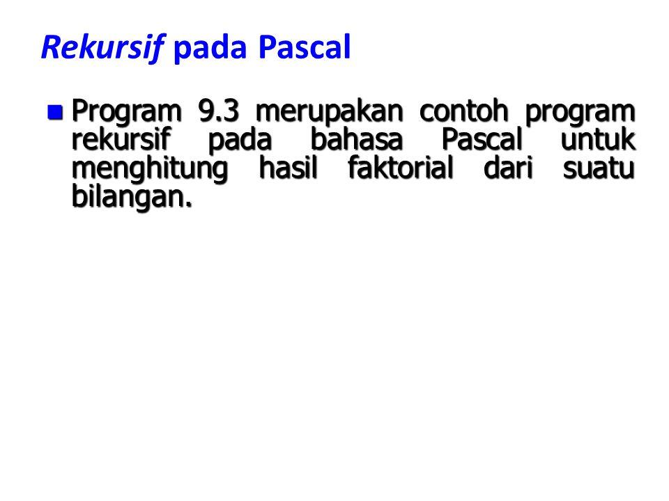 Rekursif pada Pascal Program 9.3 merupakan contoh program rekursif pada bahasa Pascal untuk menghitung hasil faktorial dari suatu bilangan. Program 9.