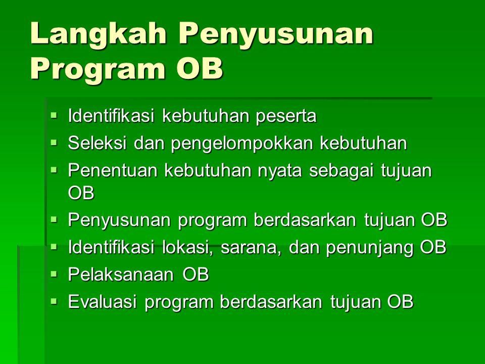 Langkah Penyusunan Program OB  Identifikasi kebutuhan peserta  Seleksi dan pengelompokkan kebutuhan  Penentuan kebutuhan nyata sebagai tujuan OB  Penyusunan program berdasarkan tujuan OB  Identifikasi lokasi, sarana, dan penunjang OB  Pelaksanaan OB  Evaluasi program berdasarkan tujuan OB