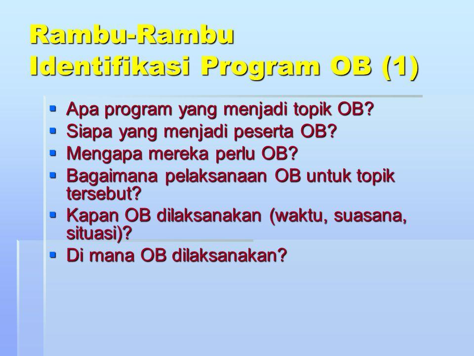 Rambu-Rambu Identifikasi Program OB (1)  Apa program yang menjadi topik OB?  Siapa yang menjadi peserta OB?  Mengapa mereka perlu OB?  Bagaimana p