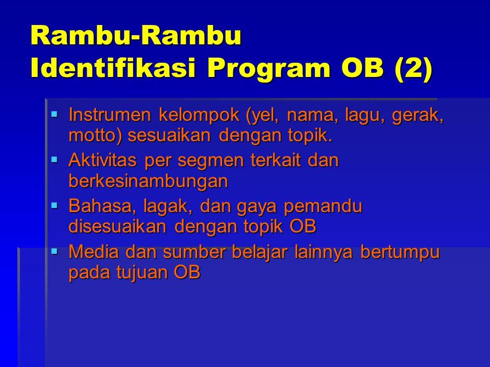 Rambu-Rambu Identifikasi Program OB (2)  Instrumen kelompok (yel, nama, lagu, gerak, motto) sesuaikan dengan topik.
