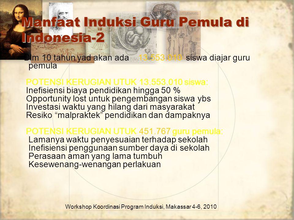 Manfaat Induksi Guru Pemula di Indonesia-2 Workshop Koordinasi Program Induksi, Makassar 4-6, 2010 Dlm 10 tahun yad akan ada 13.553.010 siswa diajar g