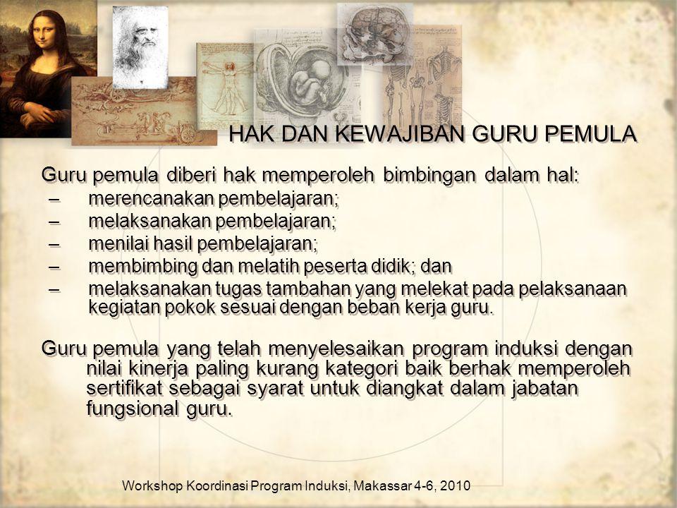 HAK DAN KEWAJIBAN GURU PEMULA Guru pemula diberi hak memperoleh bimbingan dalam hal: –merencanakan pembelajaran; –melaksanakan pembelajaran; –menilai
