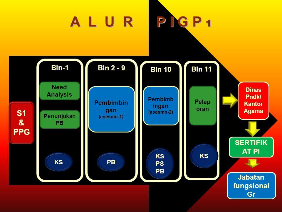 Bln-1 Bln 11 Bln 2 - 9 Bln 10 A L U R P I G P 1 S1 & PPG Need Analysis Pelap oran Pembimbin gan (asesmn-1) Pembimb ingan (asesmn-2) Jabatan fungsional