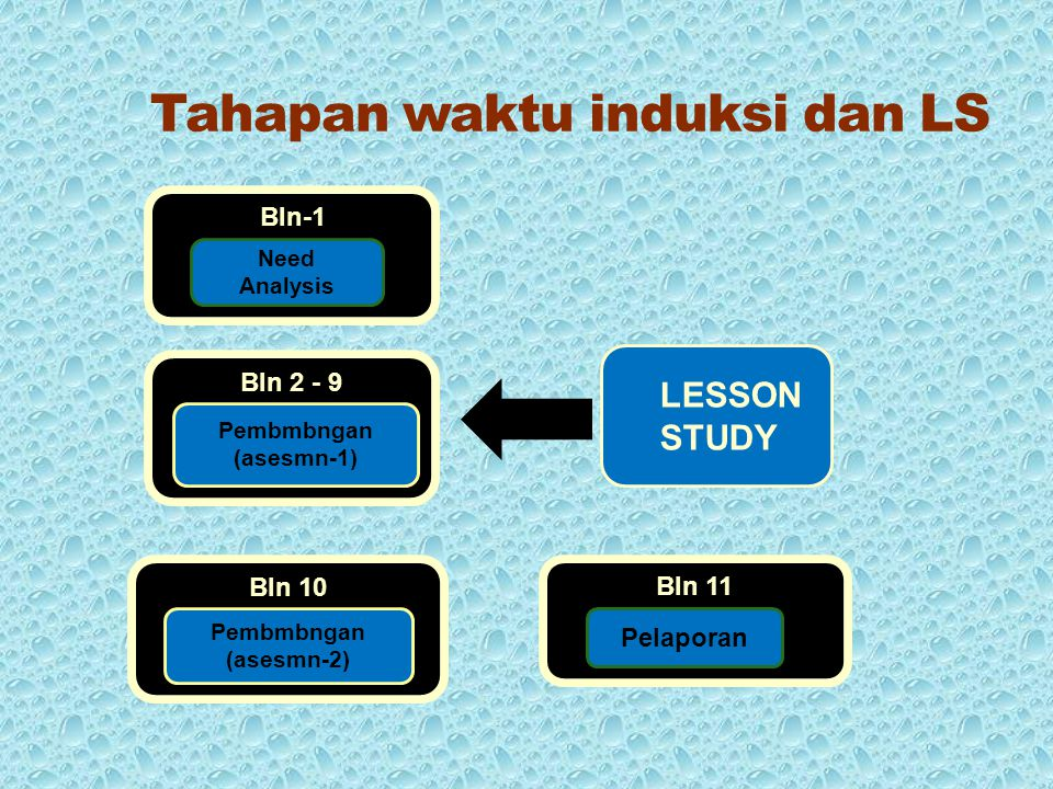 Bln-1 Need Analysis Bln 2 - 9 Pembmbngan (asesmn-1) Bln 10 Pembmbngan (asesmn-2) Bln 11 Pelaporan LESSON STUDY Tahapan waktu induksi dan LS
