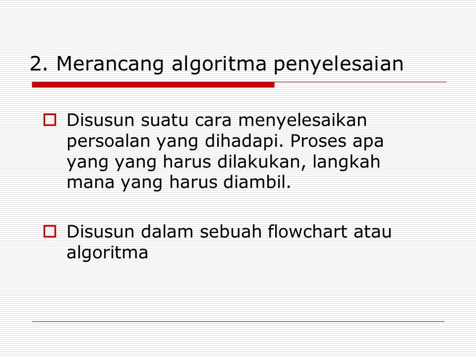 Pengenalan Algoritma  Algoritma: langkah atau prosedur-prosedur logika yang harus dilaksanakan untuk menyelesaikan suatu masalah yang berorientasi pada pemrograman komputer  Tujuan: memberikan petunjuk tentang langkah-langkah logika penyelesaian masalah dalam bentuk yang mudah dipahami nalar manusia sebagai acuan yang membantu dalam mengembangkan program komputer