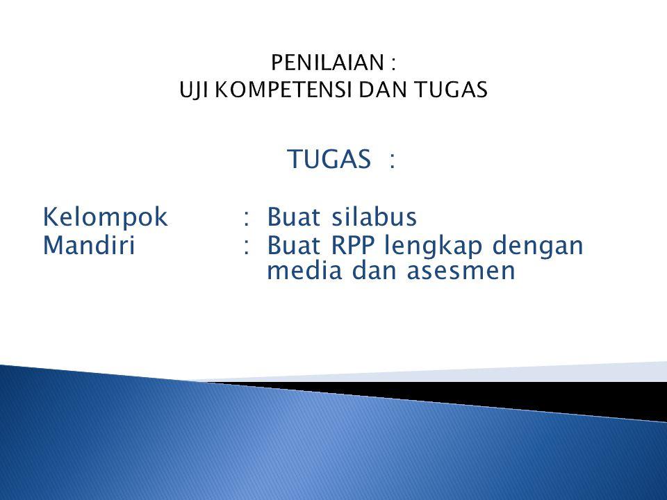 Pertemuan ke : 1.Pendahuluan, penjelasan tugas, pengenalan kurikulum 2006 (KTSP) 2.