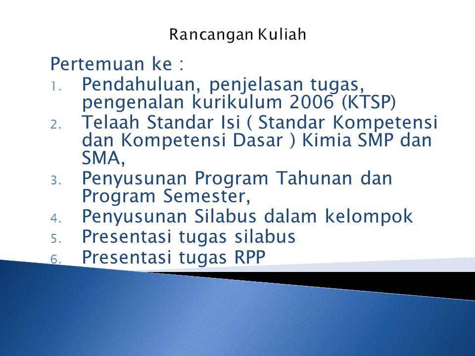 Pertemuan ke : 1. Pendahuluan, penjelasan tugas, pengenalan kurikulum 2006 (KTSP) 2. Telaah Standar Isi ( Standar Kompetensi dan Kompetensi Dasar ) Ki