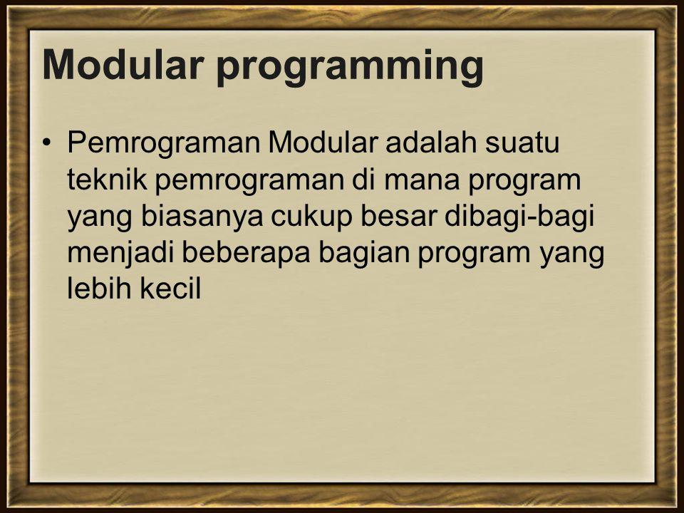 Contoh fungsi void dan non-void Void: void tampilkan_jml (int a, int b) { int jml; jml = a + b; cout<<jml; } Non-void: int jumlah (int a, int b) { int jml; jml = a + b; return jml; }