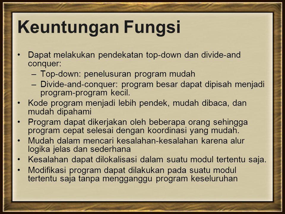 Definisi Fungsi Tubuh fungsi dapat berisi segala perintah yang dikenal oleh C, pada dasarnya tubuh fungsi sama dengan membuat program seperti biasa.