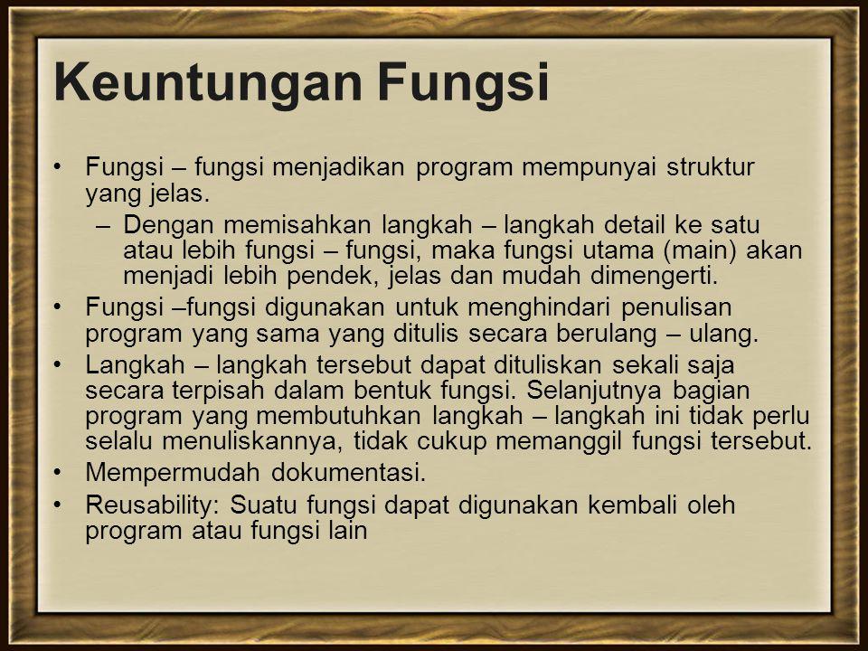 Contoh deklarasi dan definisi fungsi.