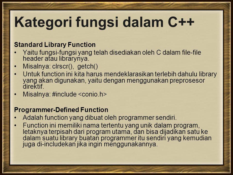 Perancangan Fungsi Dalam membuat fungsi, perlu diperhatikan: Data yang diperlukan sebagai inputan Informasi apa yang harus diberikan oleh fungsi yang dibuat ke pemanggilnya Algoritma apa yang harus digunakan untuk mengolah data menjadi informasi