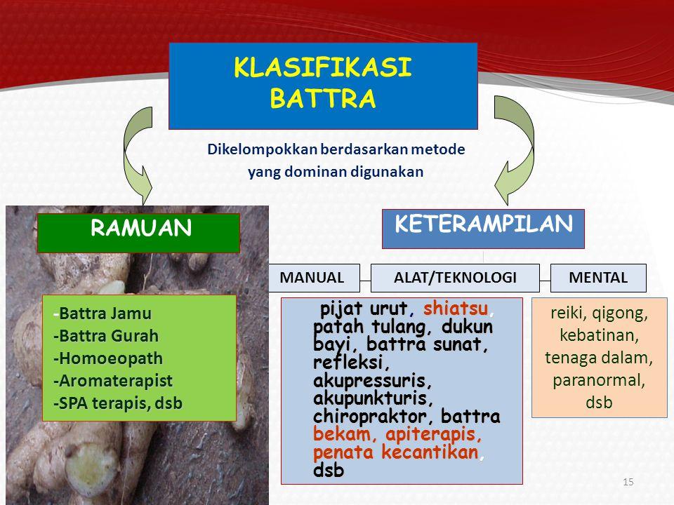 Pemanfaatan obat tradisional dalam bentuk ramuan/jamu adalah bagian dari pelayanan kesehatan tradisional 16 55,3 % penduduk Indonesia menggunakan ramuan tradisional (jamu) untuk memelihara kesehatannya 95,6% dari angka tersebut mengakui ramuan tradisional yang digunakan sangat bermanfaat bagi kesehatan PELUANG Riskesdas 2010