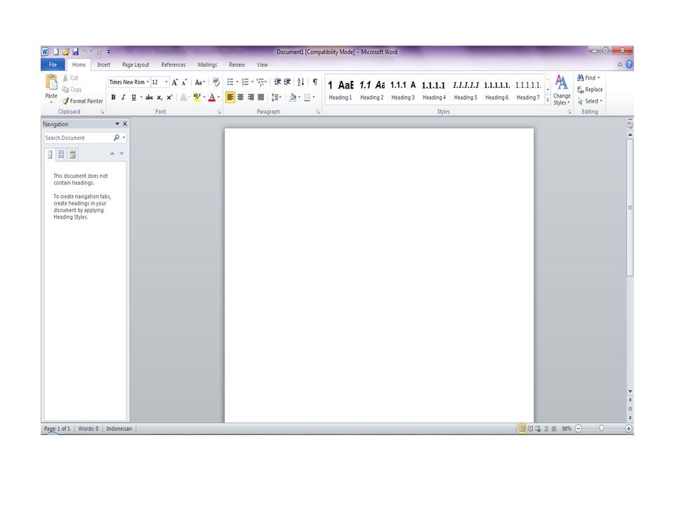 Unsur-unsur utama Layar Ms Word Judul Windows Baris Judul Menampilkan nama file dan aplikasi Microsoft Word, nama file sebelum dirubah adalah Document1, Document2 dan seterusnya.