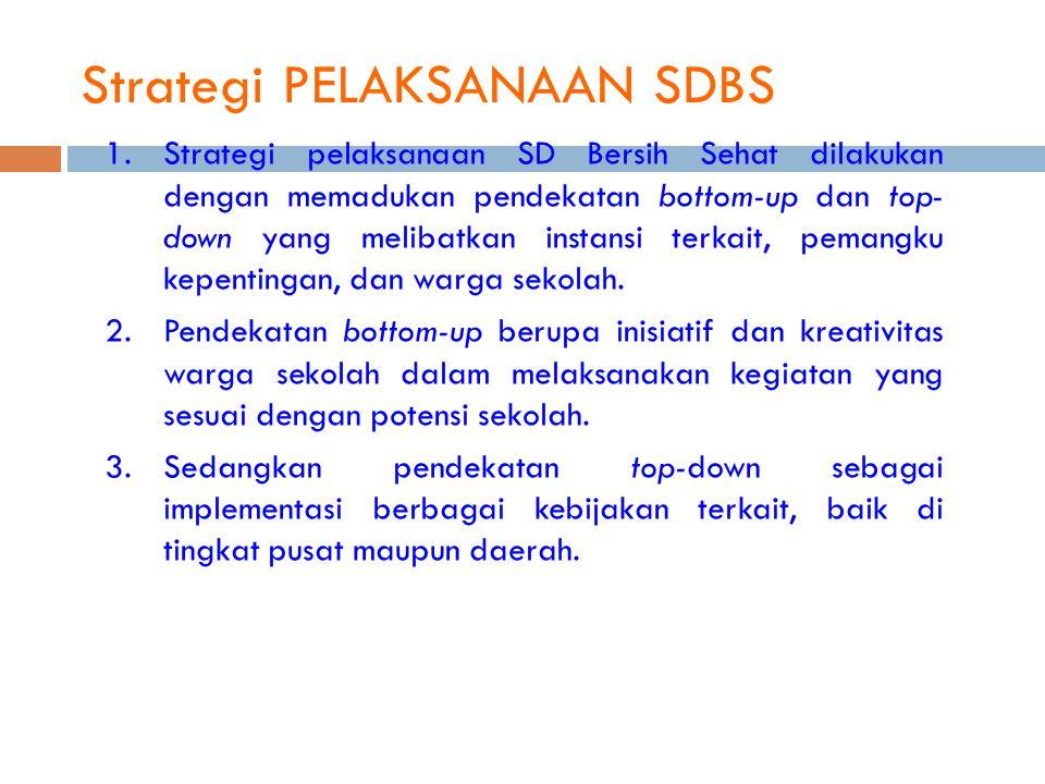 Strategi PELAKSANAAN SDBS 1.Strategi pelaksanaan SD Bersih Sehat dilakukan dengan memadukan pendekatan bottom-up dan top- down yang melibatkan instans