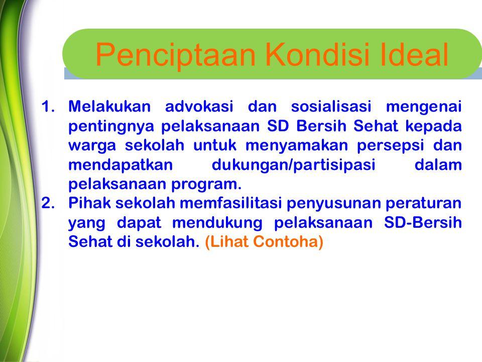 Penciptaan Kondisi Ideal Melakukan advokasi dan sosialisasi rja pelaksanaan program SD-Bersih Sehat, atau kondisi lingkungan sekolah 1.Melakukan advok