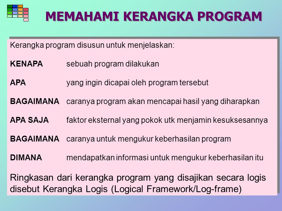 Contoh Log Frame Menguatnya perekonomian rakyat di Kabupaten Bontang 1.