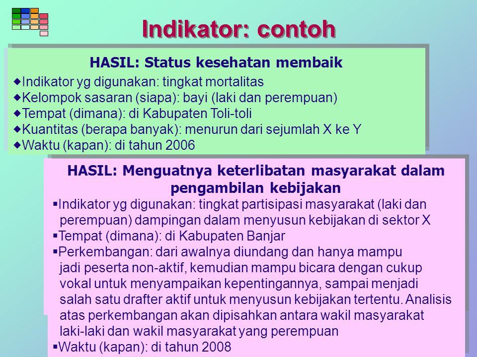 HASIL: Status kesehatan membaik  Indikator yg digunakan: tingkat mortalitas  Kelompok sasaran (siapa): bayi (laki dan perempuan)  Tempat (dimana):