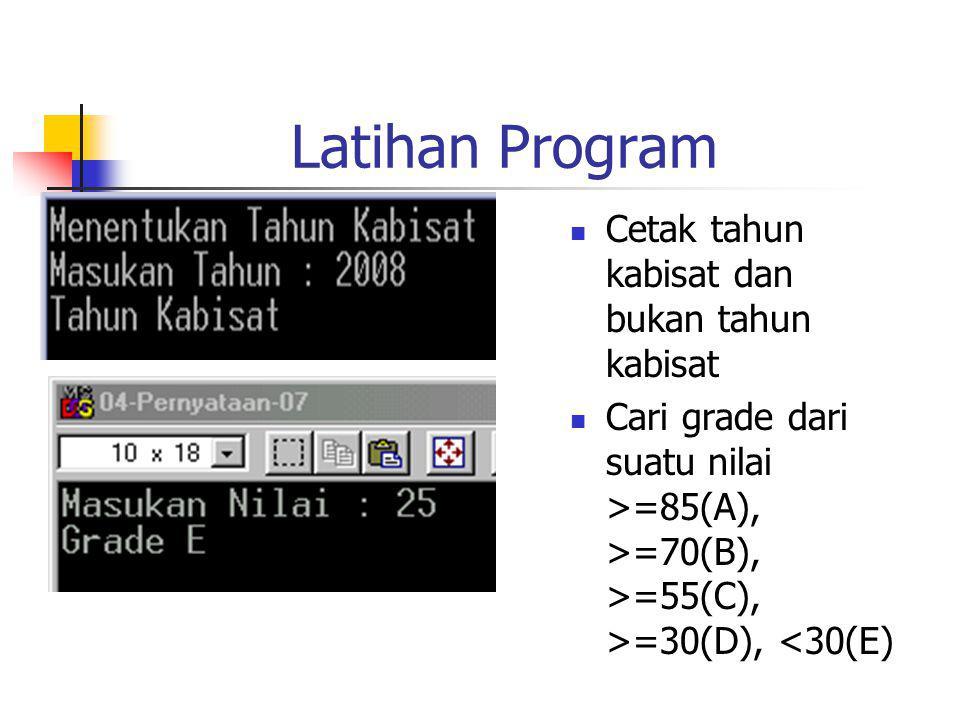 Latihan Program Cetak tahun kabisat dan bukan tahun kabisat Cari grade dari suatu nilai >=85(A), >=70(B), >=55(C), >=30(D), <30(E)