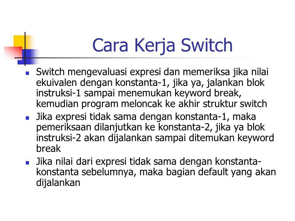 Cara Kerja Switch Switch mengevaluasi expresi dan memeriksa jika nilai ekuivalen dengan konstanta-1, jika ya, jalankan blok instruksi-1 sampai menemukan keyword break, kemudian program meloncak ke akhir struktur switch Jika expresi tidak sama dengan konstanta-1, maka pemeriksaan dilanjutkan ke konstanta-2, jika ya blok instruksi-2 akan dijalankan sampai ditemukan keyword break Jika nilai dari expresi tidak sama dengan konstanta- konstanta sebelumnya, maka bagian default yang akan dijalankan