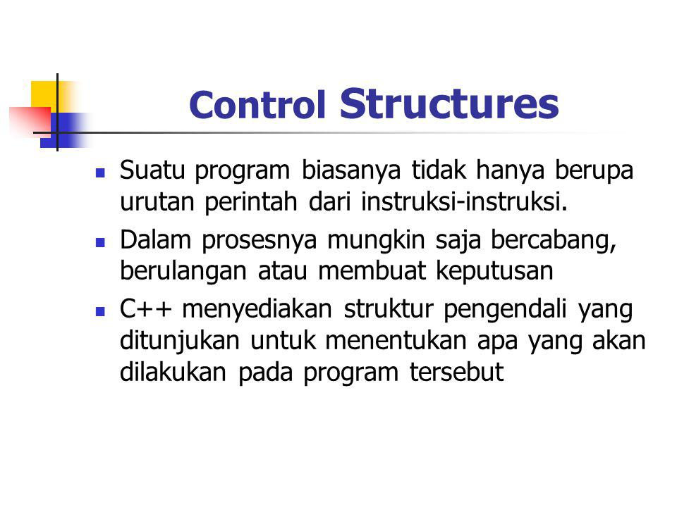 Control Structures Suatu program biasanya tidak hanya berupa urutan perintah dari instruksi-instruksi. Dalam prosesnya mungkin saja bercabang, berulan