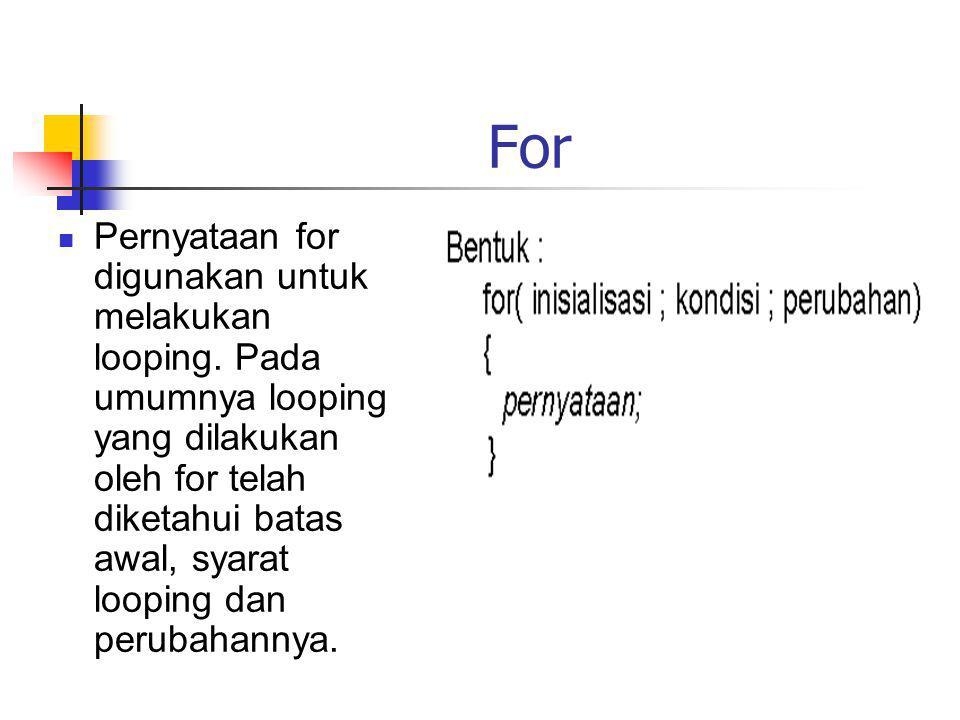 For Pernyataan for digunakan untuk melakukan looping. Pada umumnya looping yang dilakukan oleh for telah diketahui batas awal, syarat looping dan peru