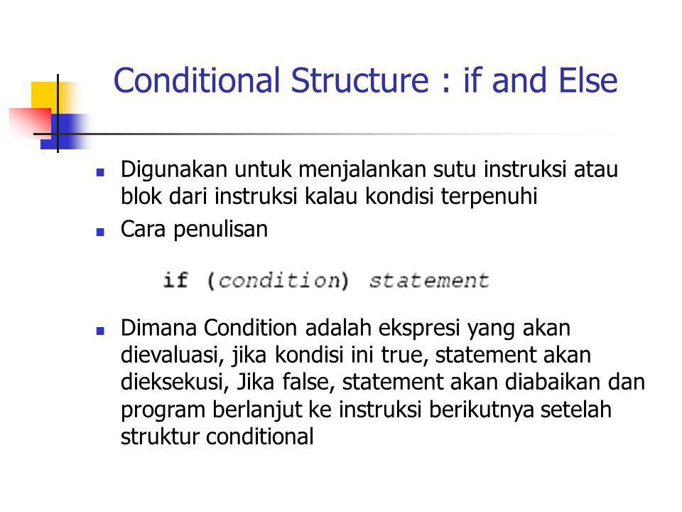 Conditional Structure : if and Else Digunakan untuk menjalankan sutu instruksi atau blok dari instruksi kalau kondisi terpenuhi Cara penulisan Dimana