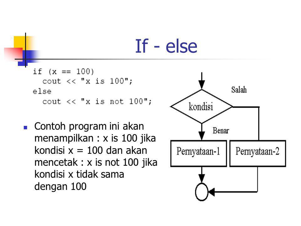 If - else Contoh program ini akan menampilkan : x is 100 jika kondisi x = 100 dan akan mencetak : x is not 100 jika kondisi x tidak sama dengan 100