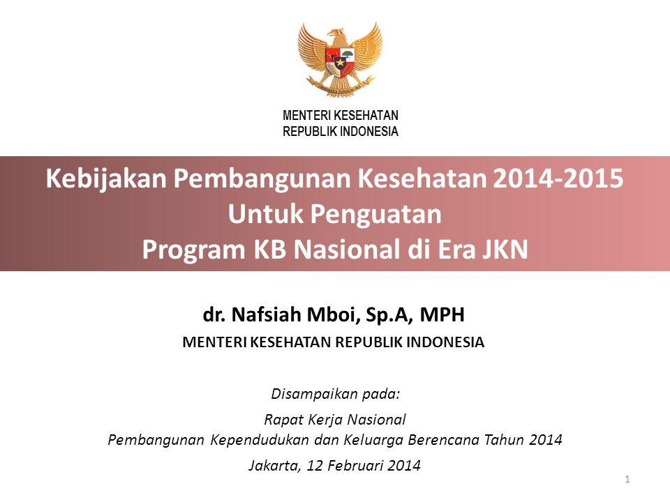 Disampaikan pada: Rapat Kerja Nasional Pembangunan Kependudukan dan Keluarga Berencana Tahun 2014 Jakarta, 12 Februari 2014 MENTERI KESEHATAN REPUBLIK