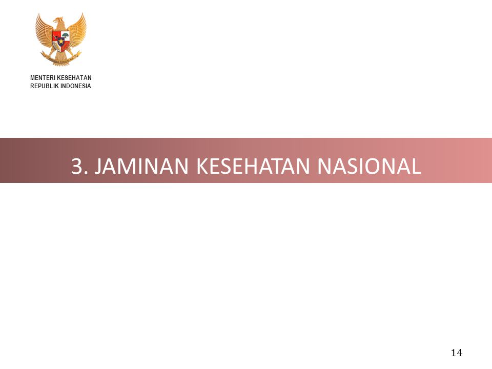 14 3. JAMINAN KESEHATAN NASIONAL MENTERI KESEHATAN REPUBLIK INDONESIA